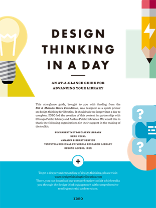 Imagen de DESIGN THINKING IN A DAY. AN AT-A-GLANCE GUIDE FOR ADVANCING YOUR LIBRARY