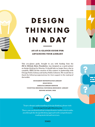 Picture of DESIGN THINKING IN A DAY. AN AT-A-GLANCE GUIDE FOR ADVANCING YOUR LIBRARY